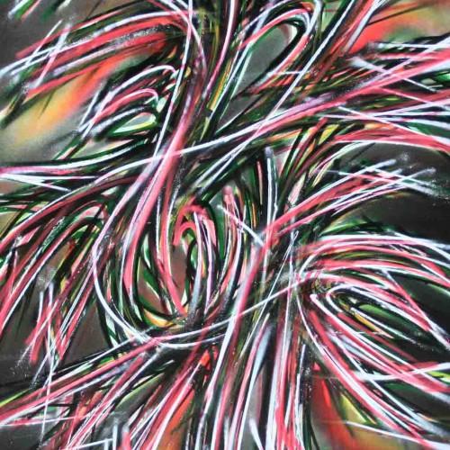 tableau abstrait anais en noir rouge et blanc