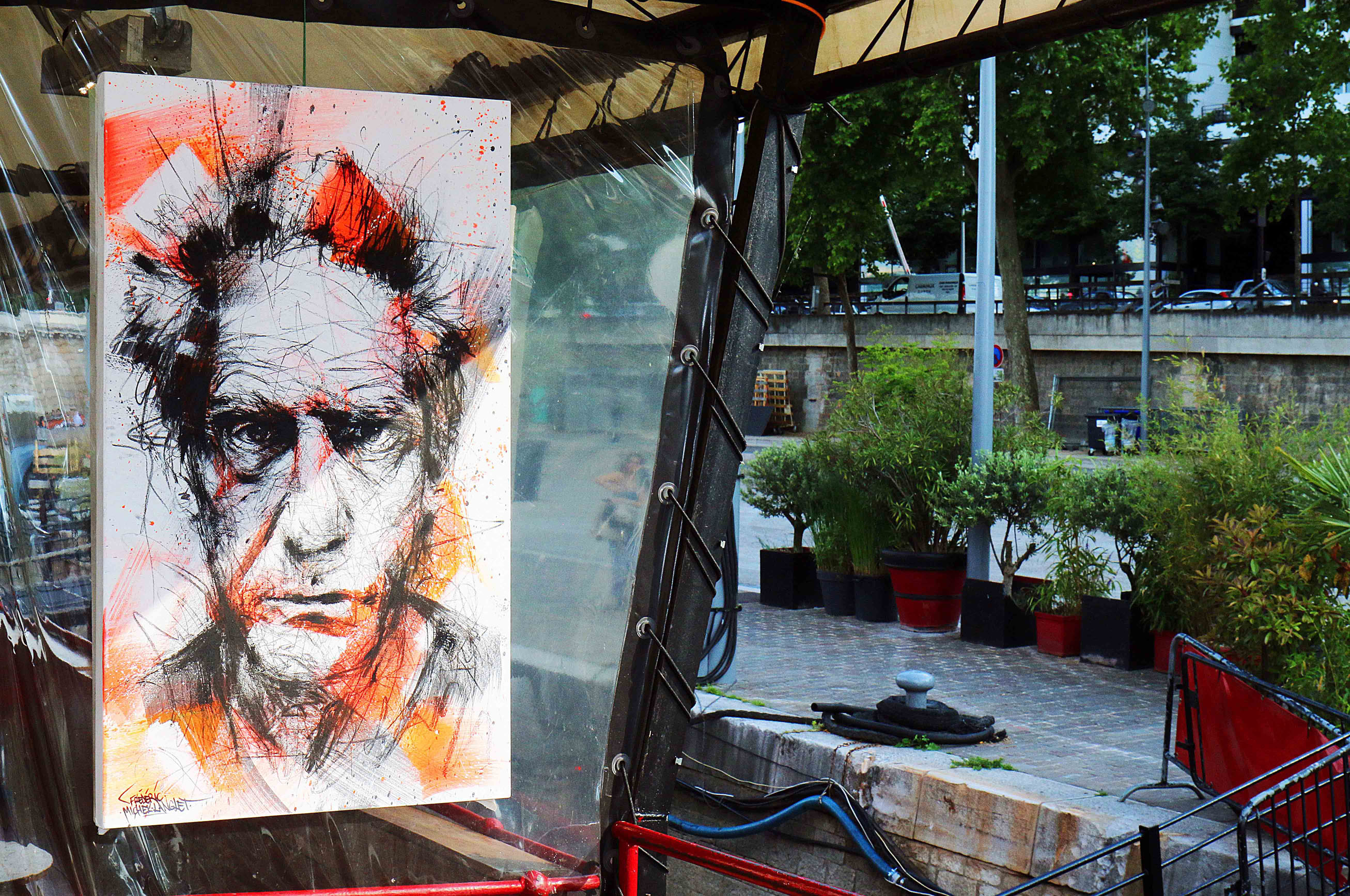 tableau de david cronenberg de l'expositions au batofar à paris