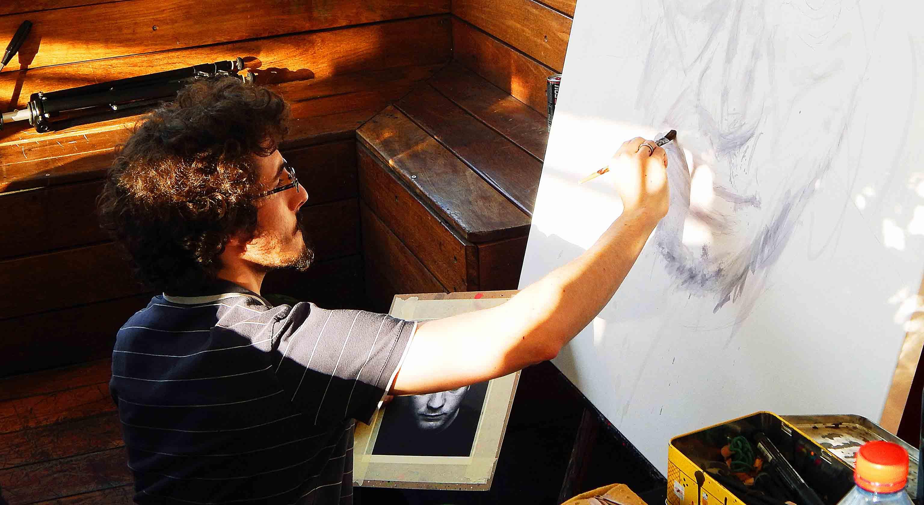 live painting de l'expositions au batofar à paris