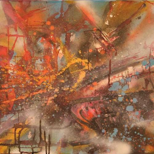 tableau abstrait beauté cachée en bleu rose rouge et blanc