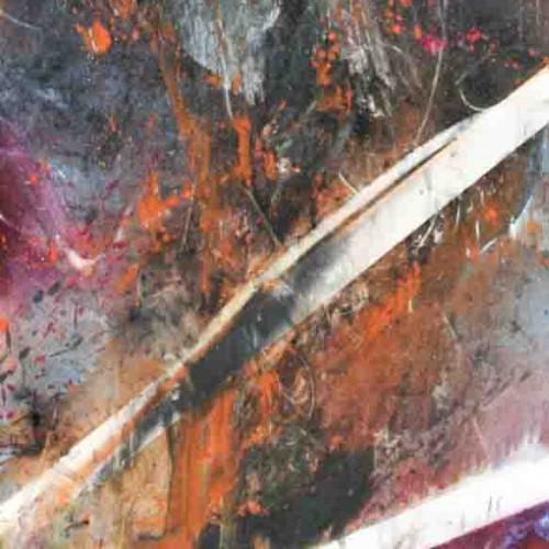 tableau abstrait brutal discours en orange blanc et violet