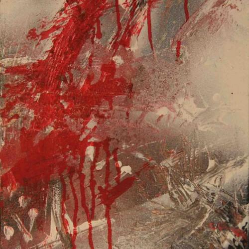 tableau abstrait chagrin d'amour en rouge et noir