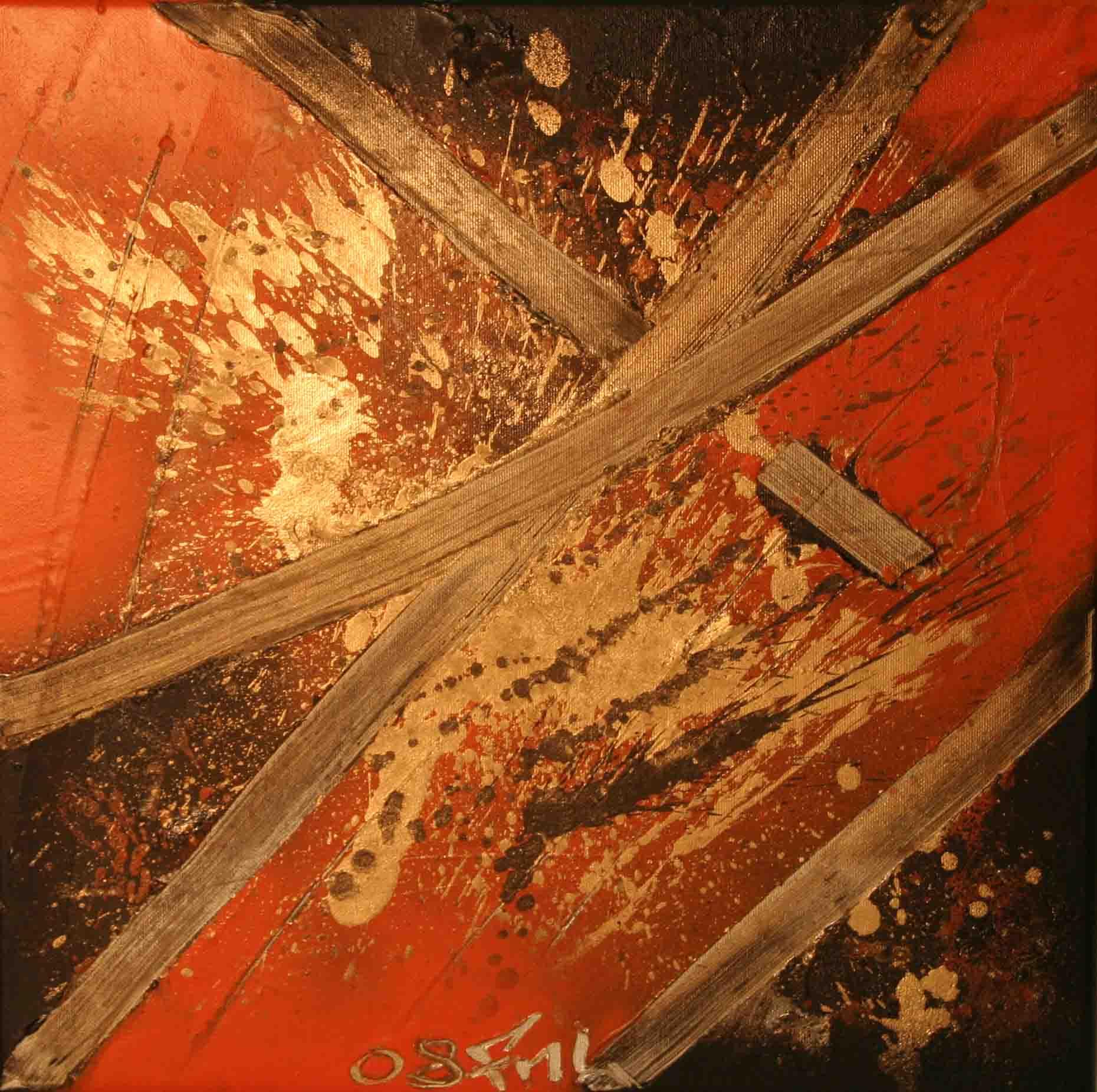 tableau abstrait cconfrontation positive en doré noir et orange