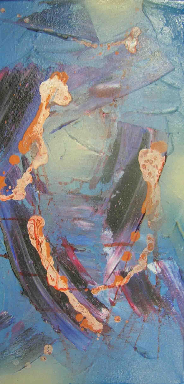 tableau abstrait corrosif en bleu et orange
