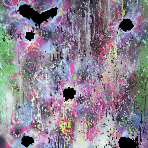 tableau abstrait couleur acide de toutes les couleurs