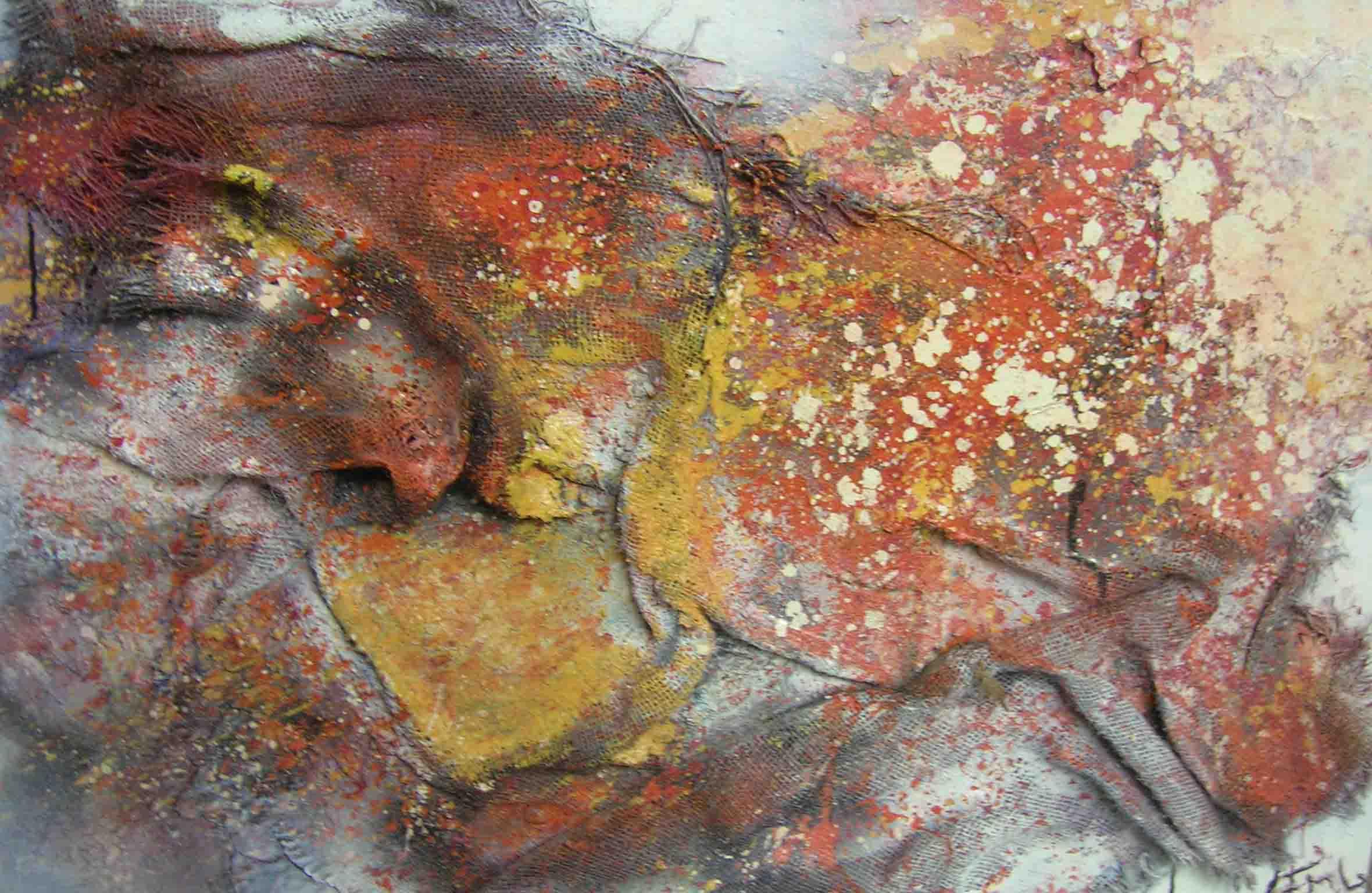 tableau abstrait decadence en toile de jutte avec du orange et du rouge