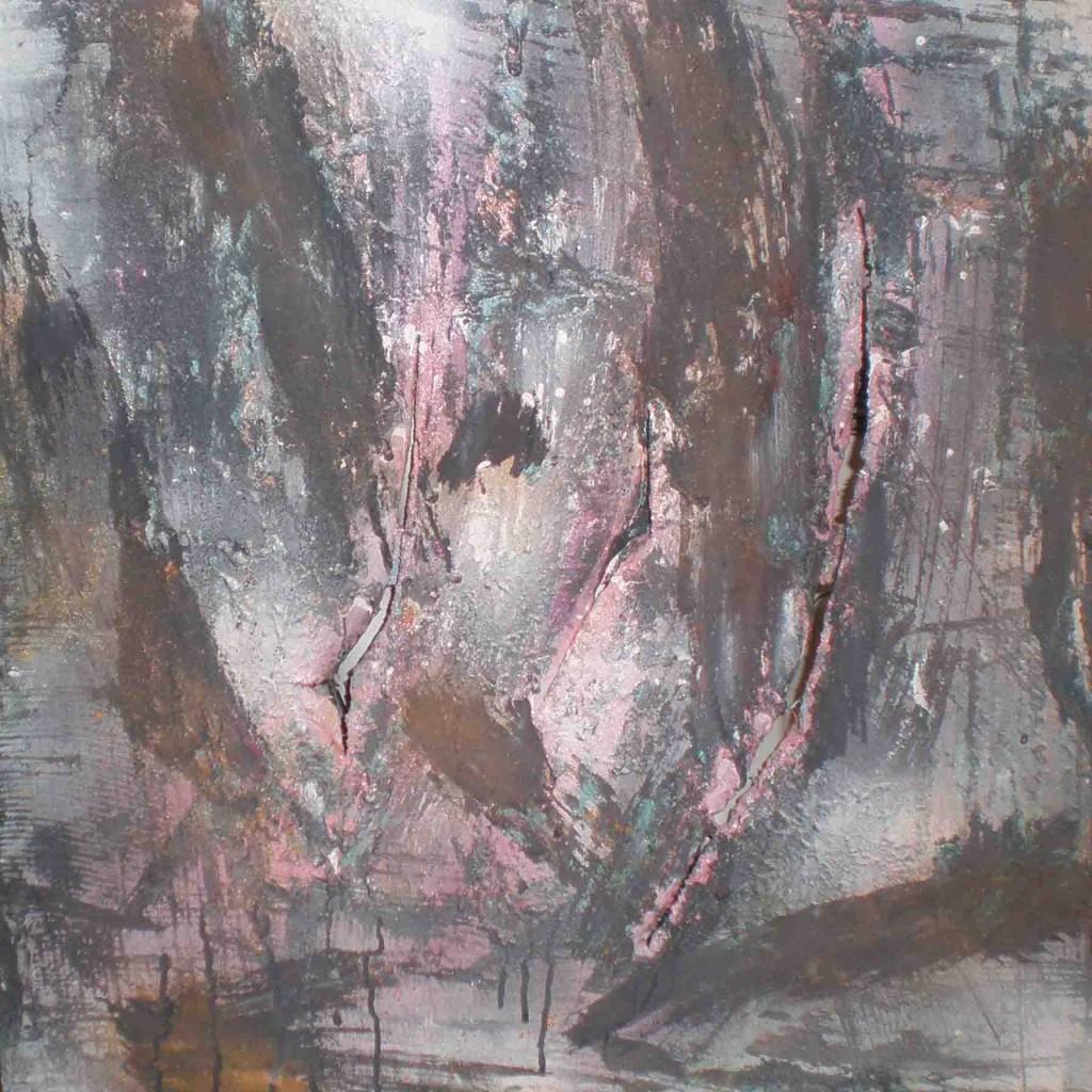 tableau abstrait demence avec des couleurs rose turquoise et marron