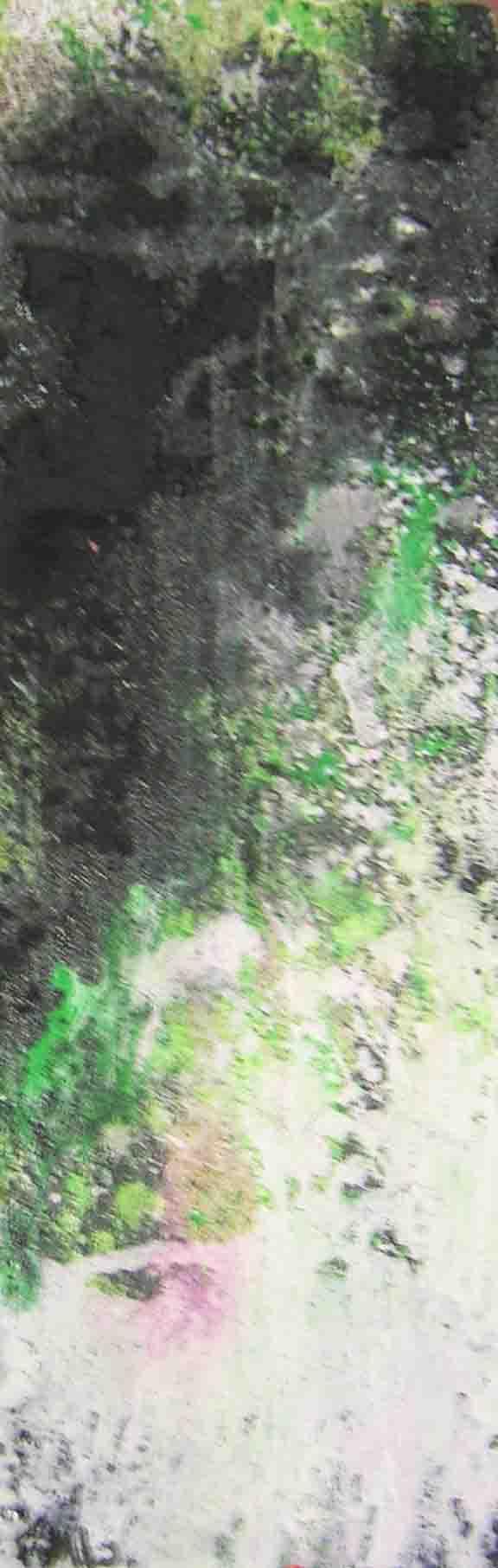 tableau abstrait dessechement chimique en vert et blanc