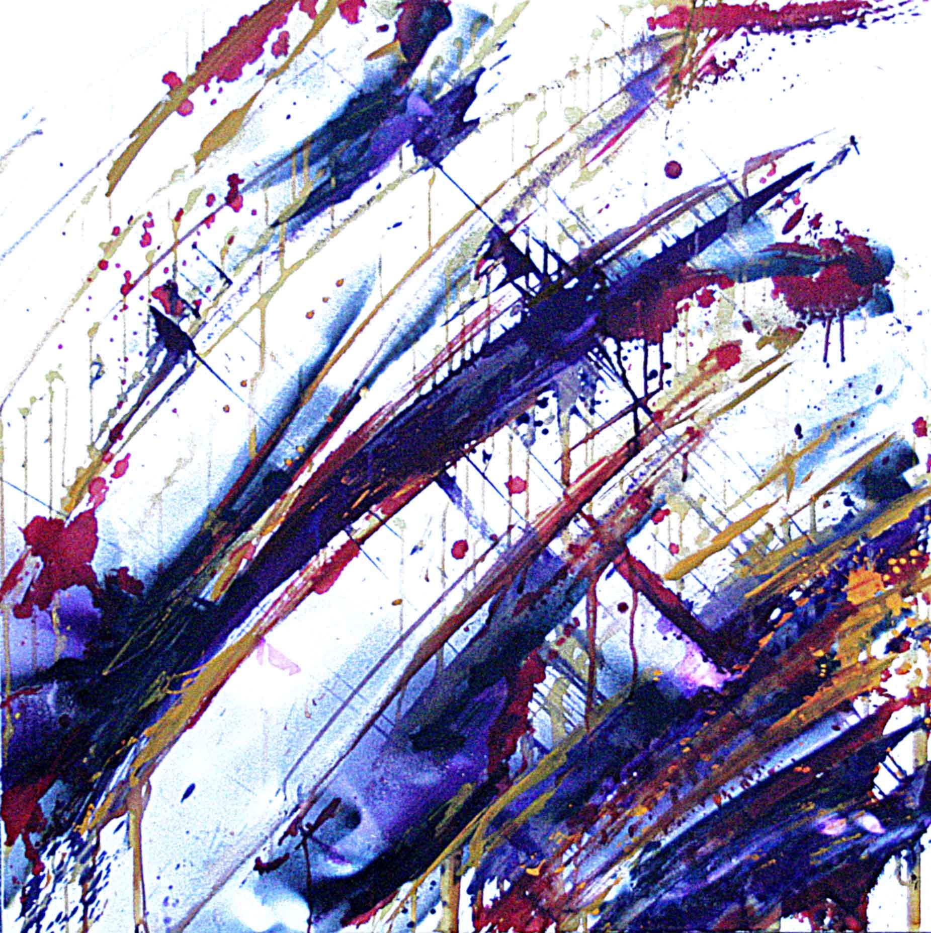 tableau abstrait decoratif avec des couleurs violettes en rouge