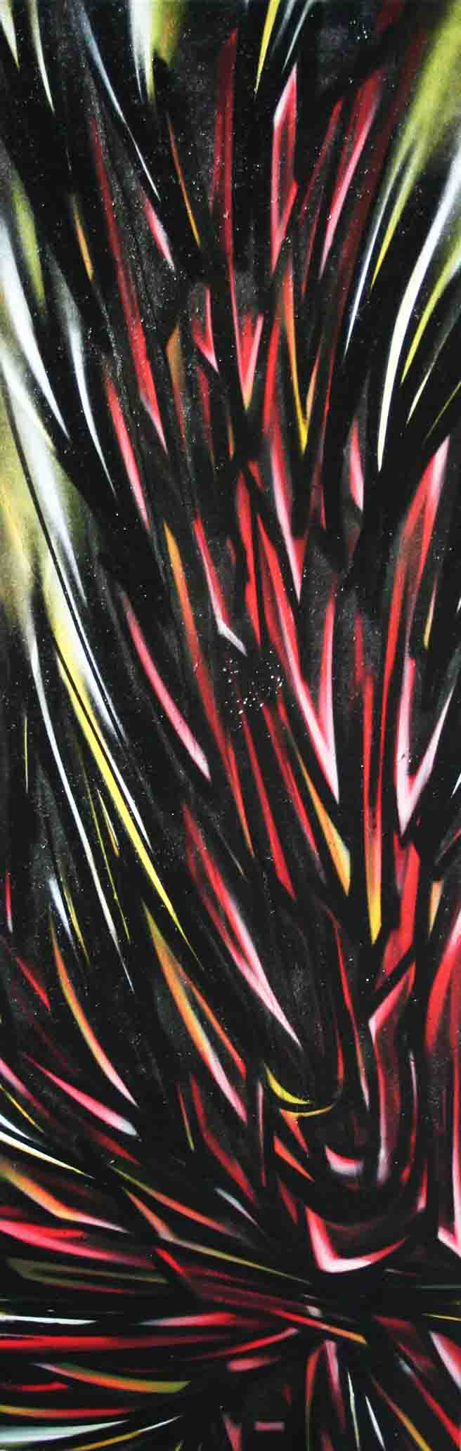 tableau abstrait distinction en rouge noir et jaune