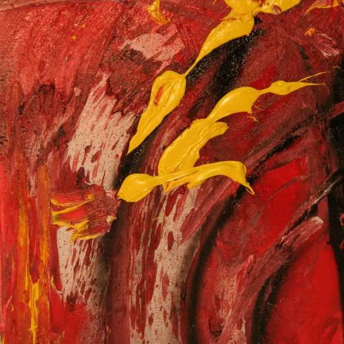 tableau abstrait domination en rouge jaune et noir
