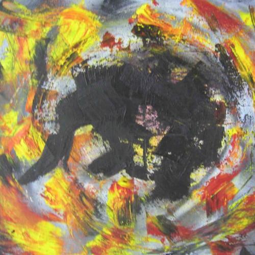 tableau abstrait douleur psychique avec des couleurs jaune noir rouge et grise