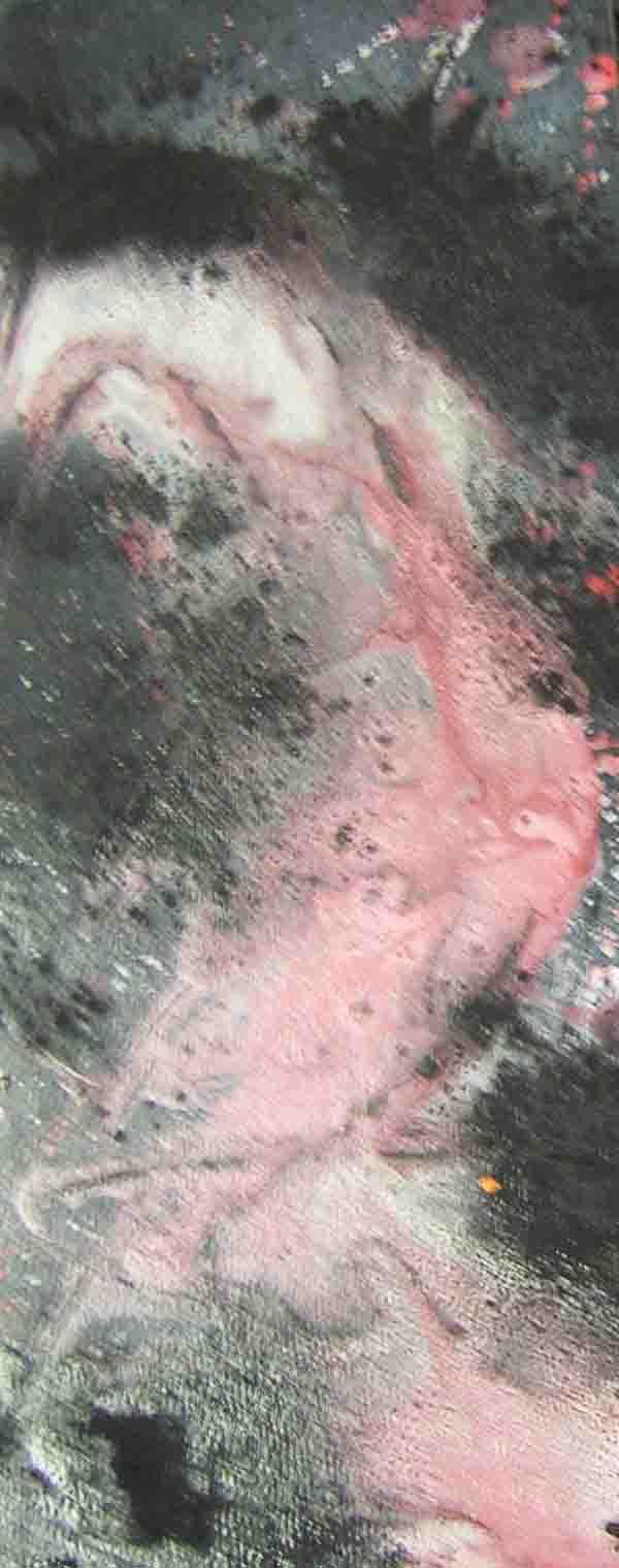 tableau abstrait douleur tendre en rouge et noir