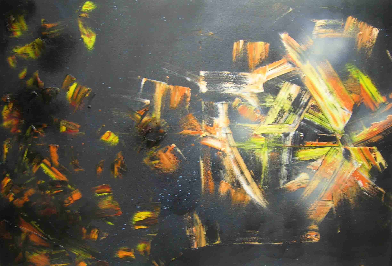 tableau abstrait eclipse infinie en noir orange et jaune