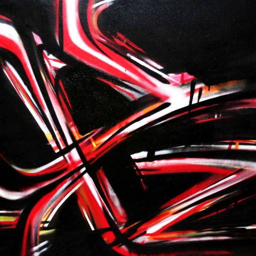 tableau d'abstrait egalite en rouge et noir