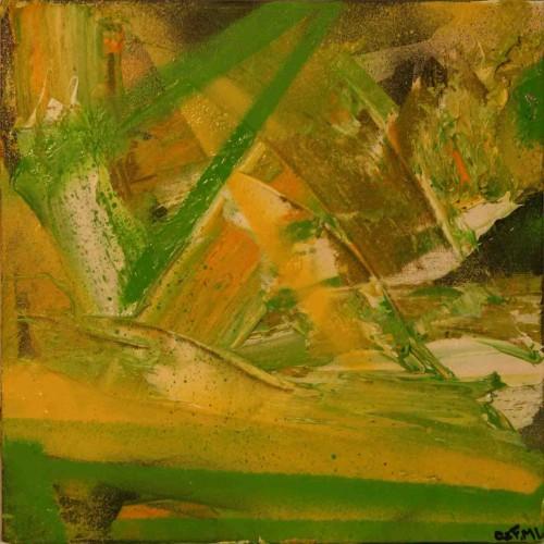 tryptique abstrait en blanc vert et jaune