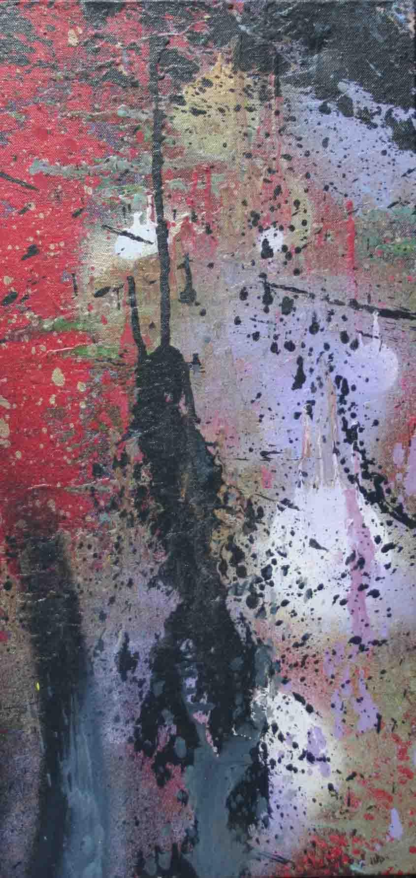 tableau abstrait et mon coeur y est encore en violet et rouge