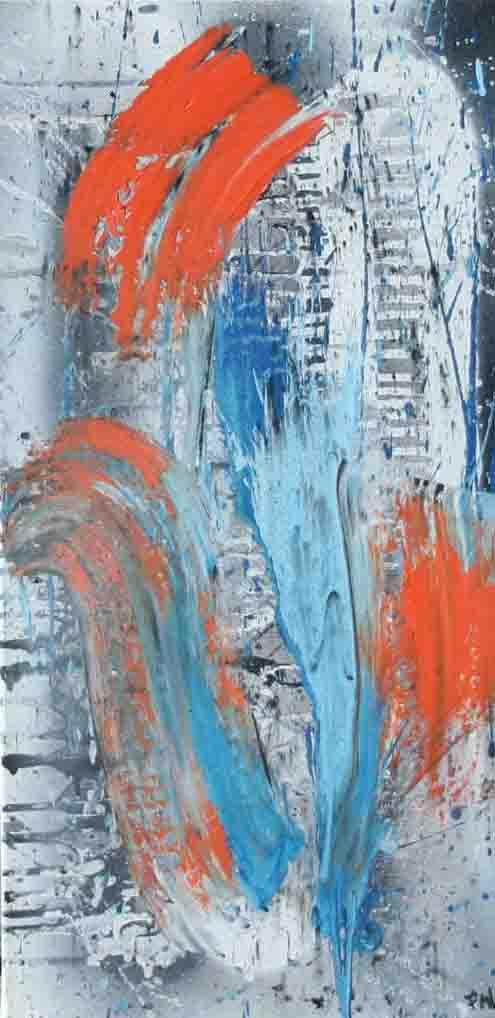 tableau abstrait etonnement en bleu blanc et orange