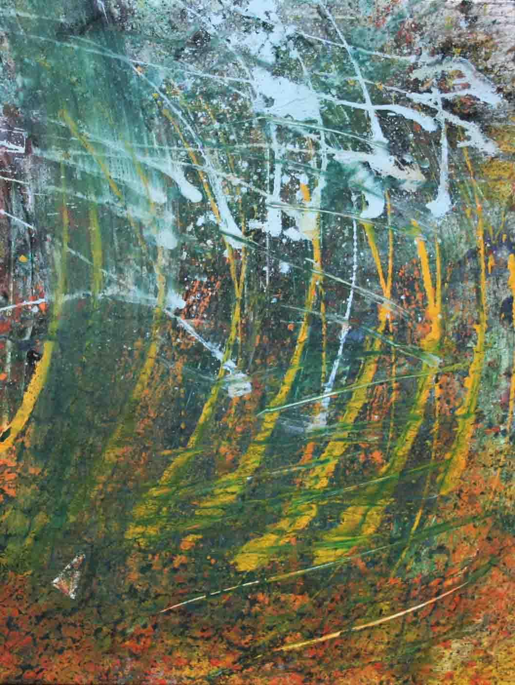 tableau abstrait euphorie violente en jaune et vert