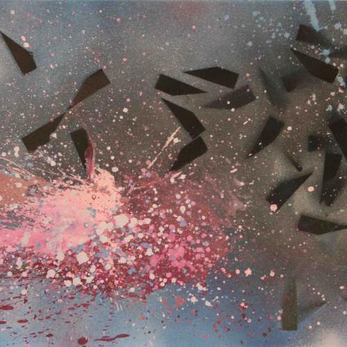 tableau abstrait evasion définitive en bleu et rose