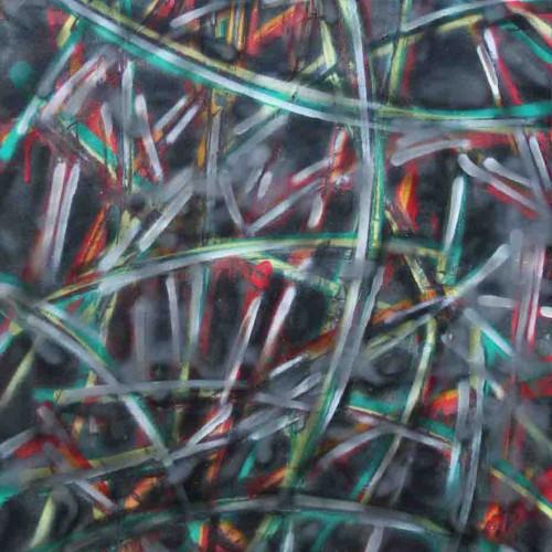 tableau abstrait explosion visuelle en vert noir gris et rouge
