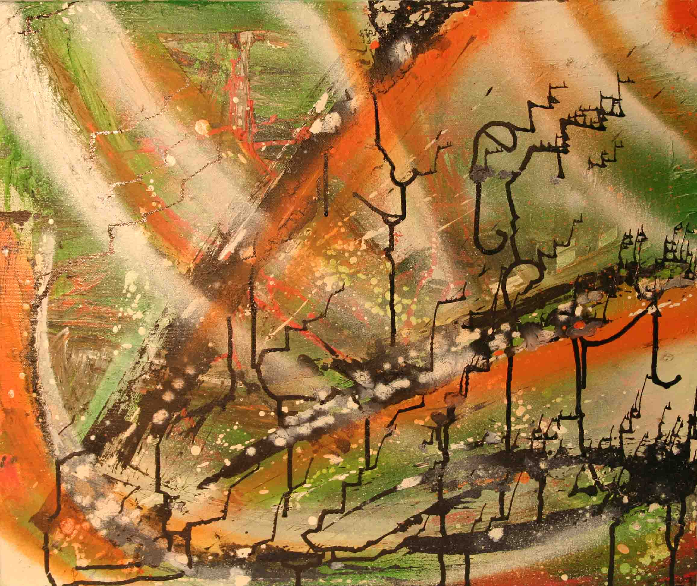 tableau abstrait foret enfantine en orange vert et noir