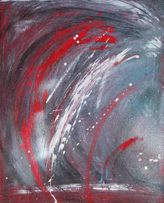 tableau abstrait hésitation sentimentale en rouge et bleu