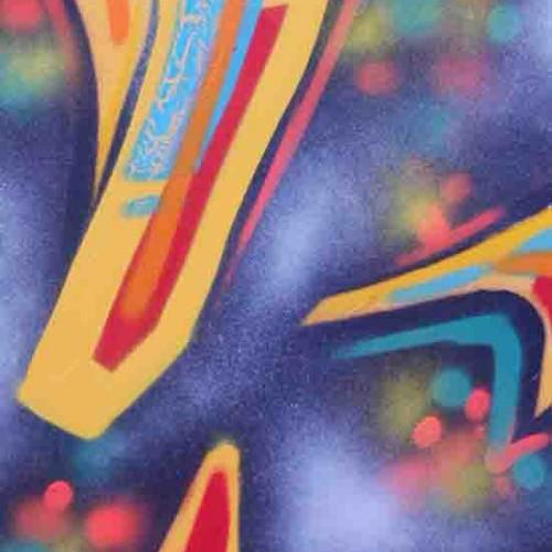 tableau abstrait hexagonal en jaune orange bleu et violet