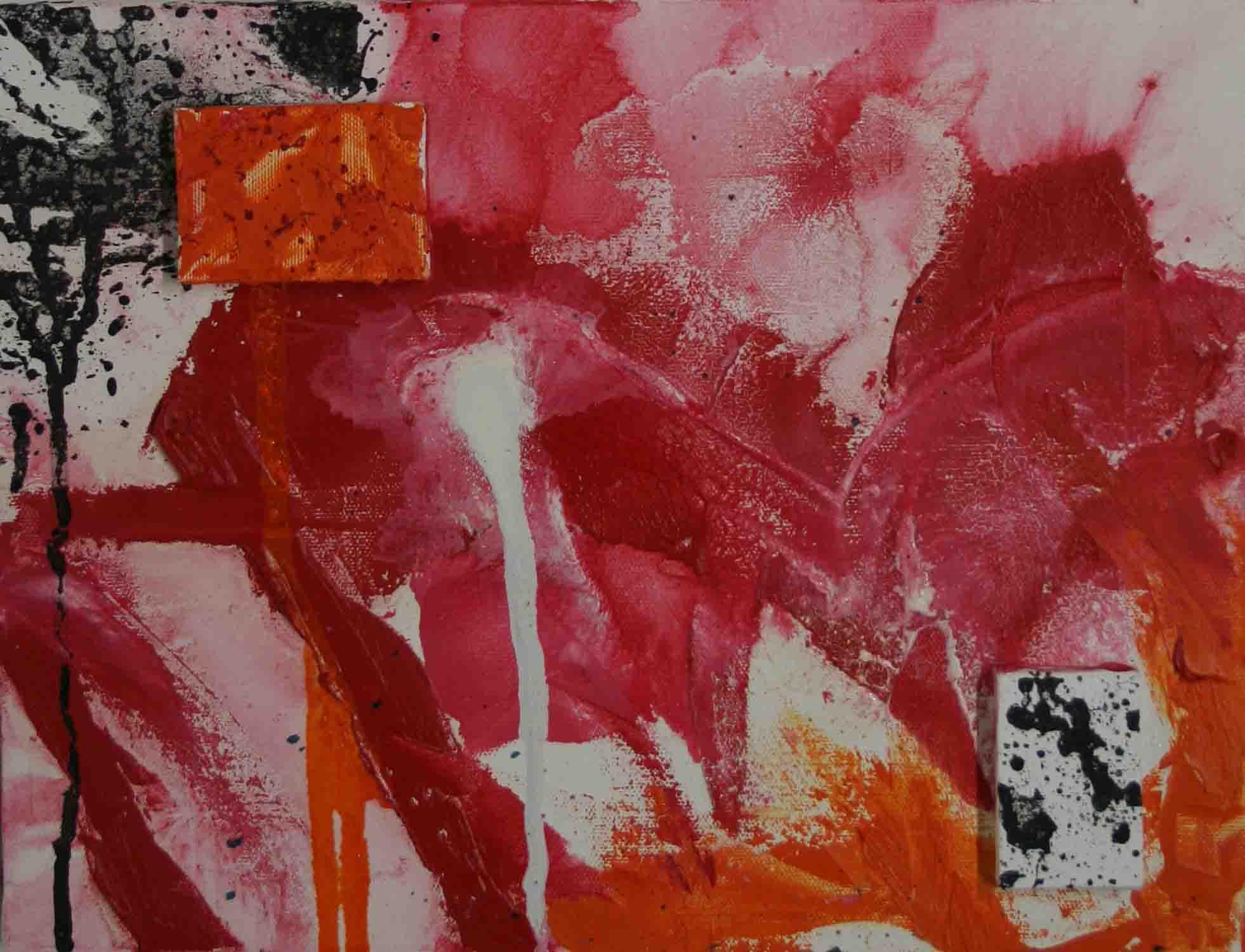 tableau abstrait implications imposées en rouge et orange