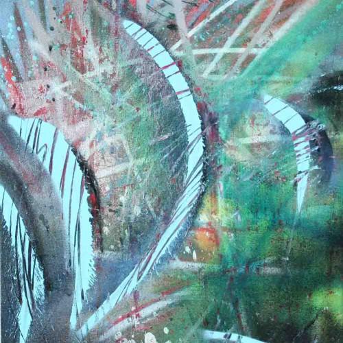 tableau abstrait instrusion 1 en vert et bleu