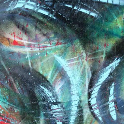 tableau abstrait intrustion 2 en vert et bleu