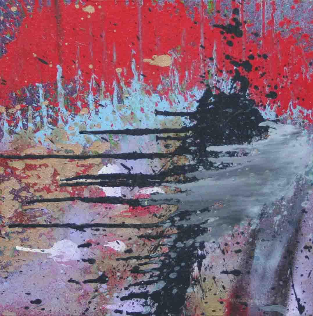 tableau abstrait j'ai souffert en rouge et violet