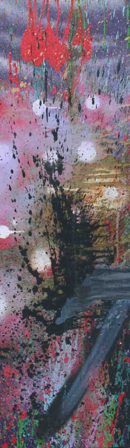 tableau abstrait je suis venu en noir doré et violet