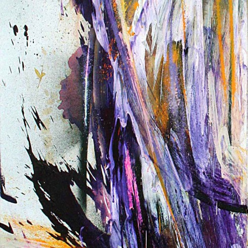 tableau kraken abstrait en violet jaune et blanc