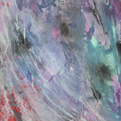 tableau abstrait l'envol en vert violet et gris
