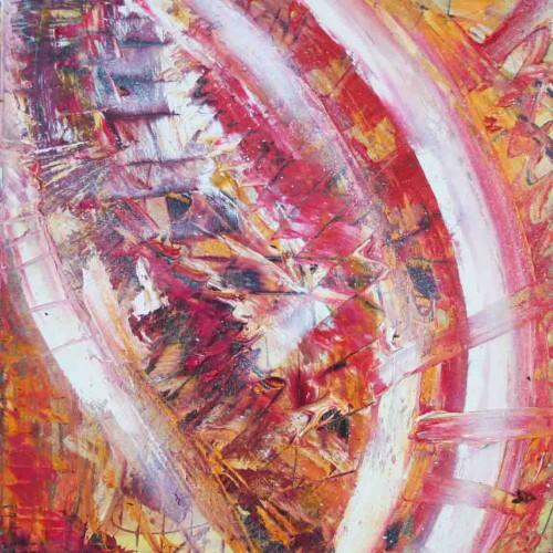 tableau abstrait l'oeil de flamme en rouge et jaune