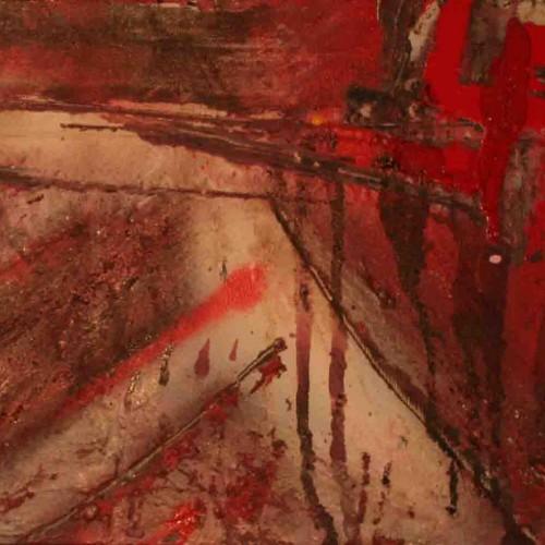 tableau abstrait la cide en rouge et brun foncé