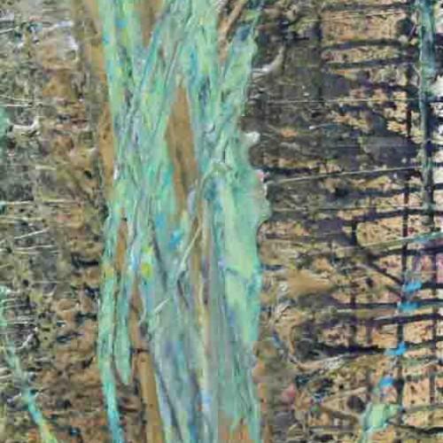 tableau abstrait la déchirure de l'espoir en vert et doré