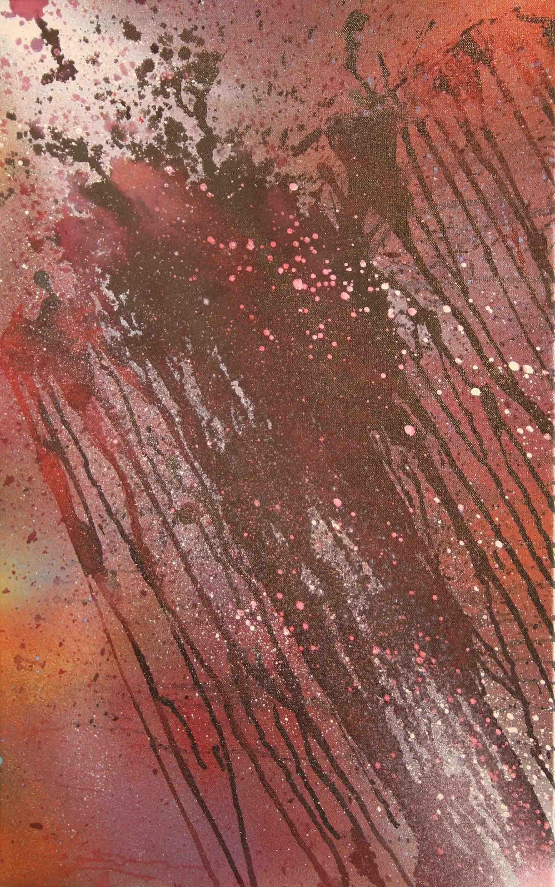 tableau abstrait la marque des larmes en violet et mauve