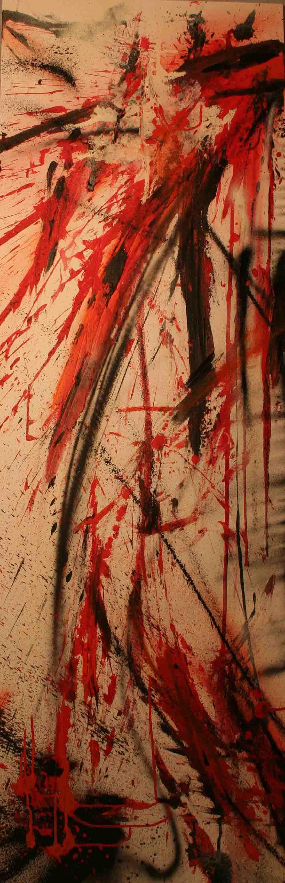 Tableau abstrait la stupidité est humaine en rouge et noir