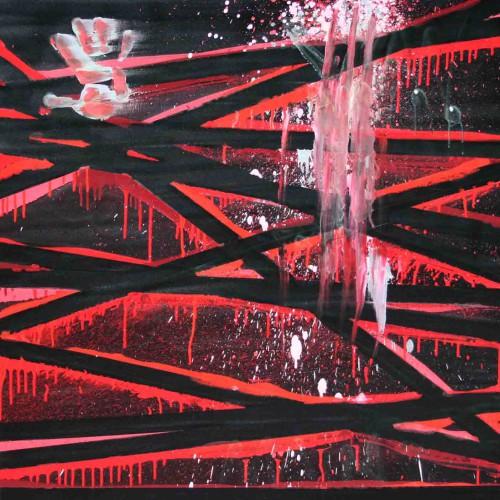 tableau abstrait la trace en rouge et noit