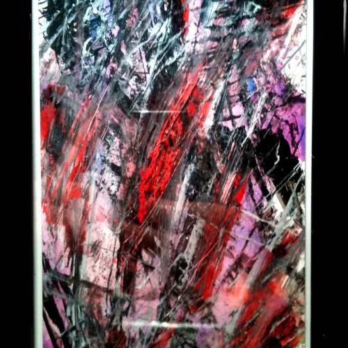 tableau lacerations abstrait avec des couleurs violacées