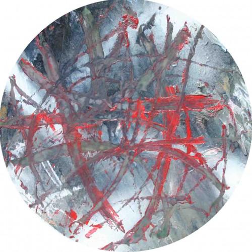 tableau abstrait le gouffre en rouge et vert foncé
