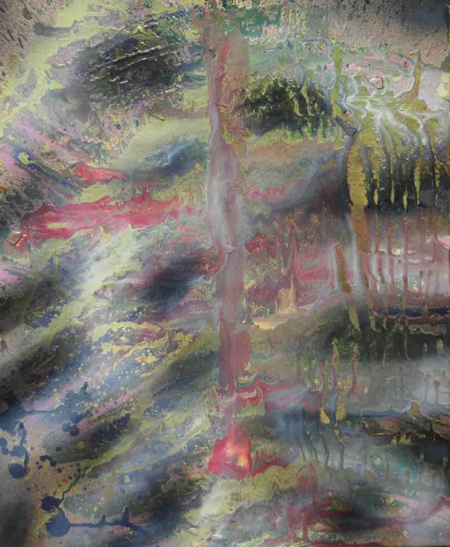 tableau abstrait les cotes en noir et vert doré