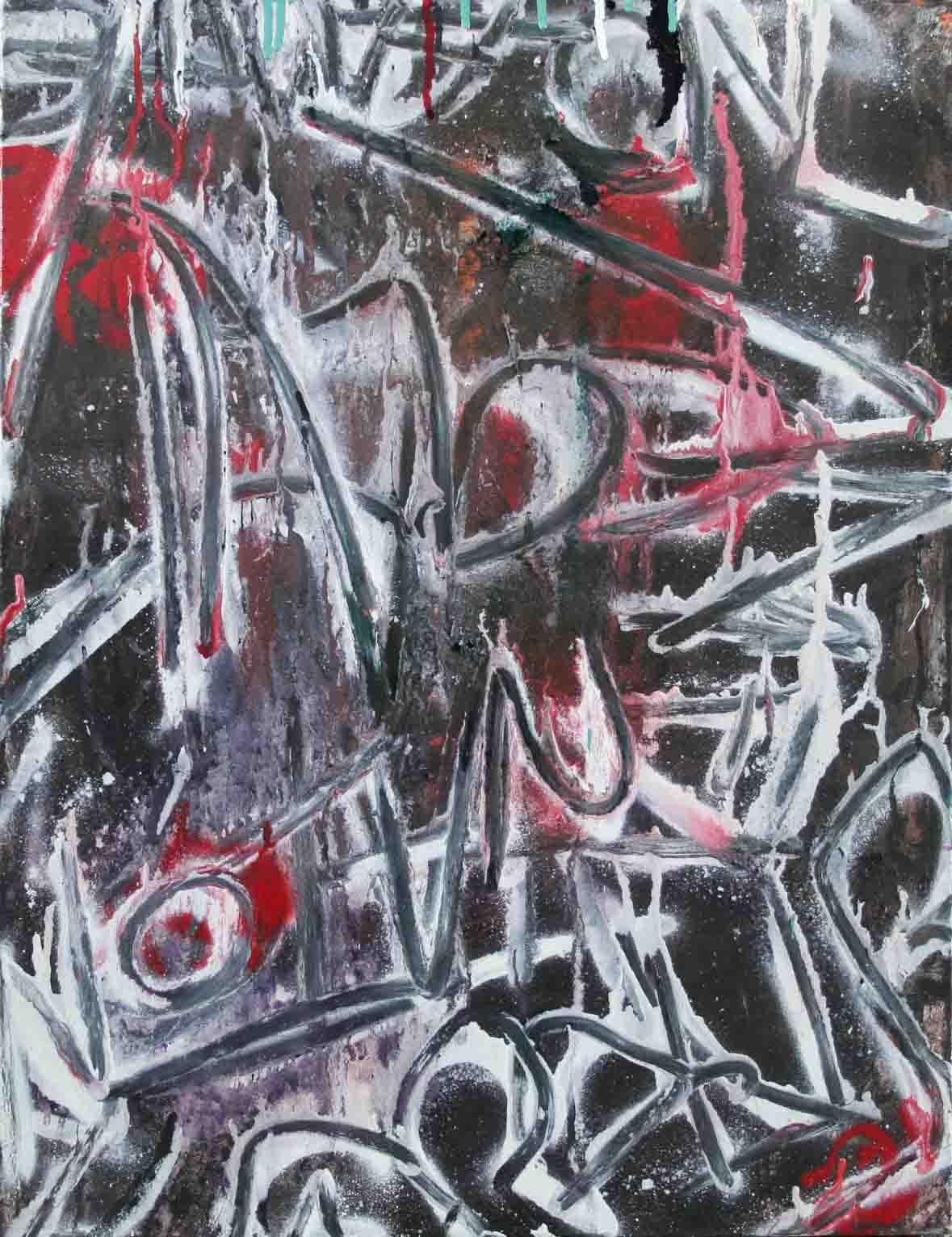 tableau abstrait les maux en blanc et noir