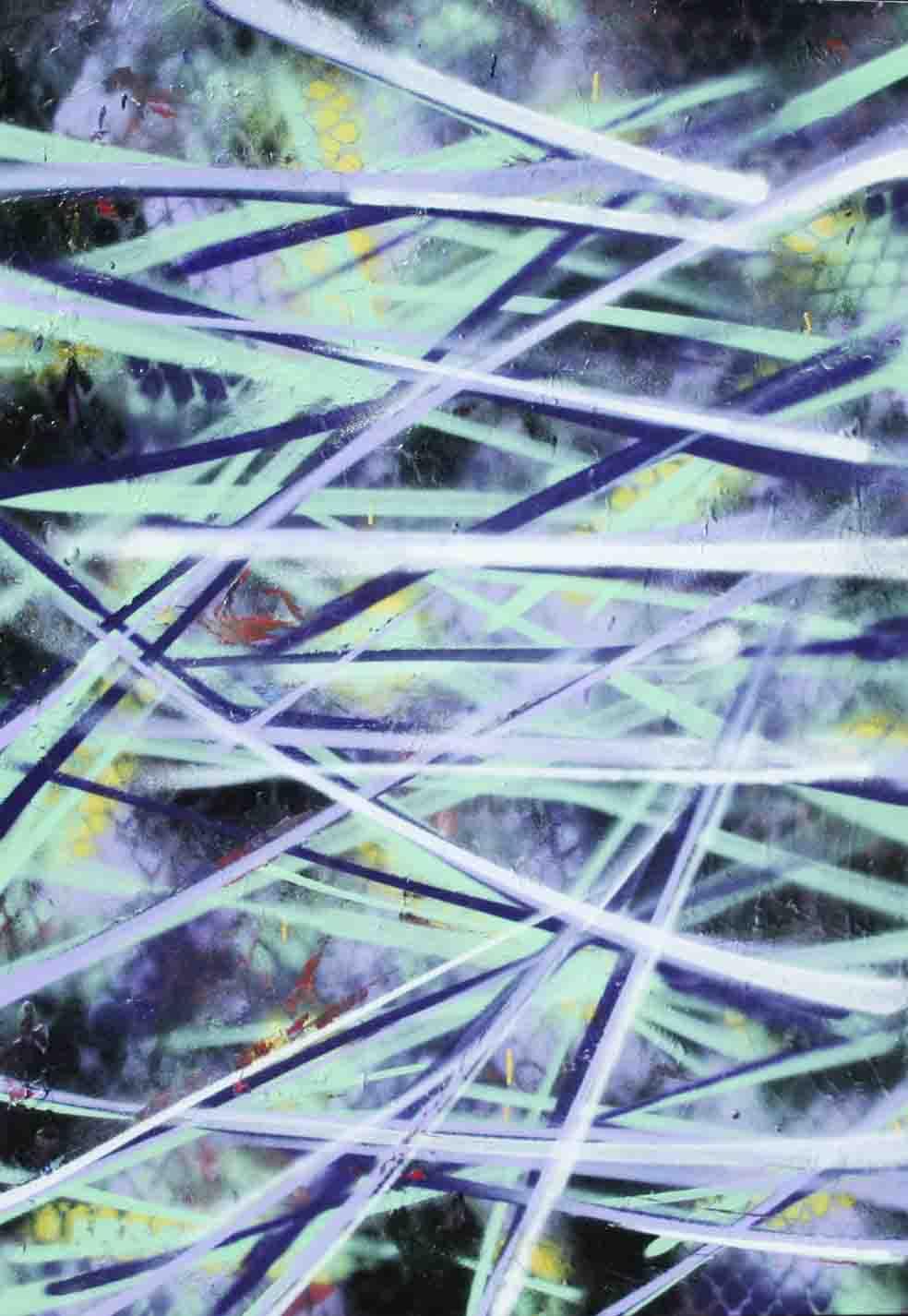 tableau abstrait les roseaux en vert clair et en violet