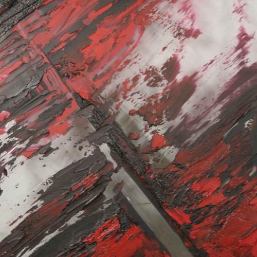 tableau abstrait mélange éthnique en noir et rouge