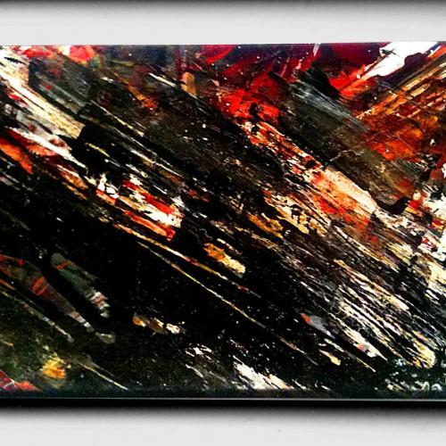petit tableau abstrait noir et rouge