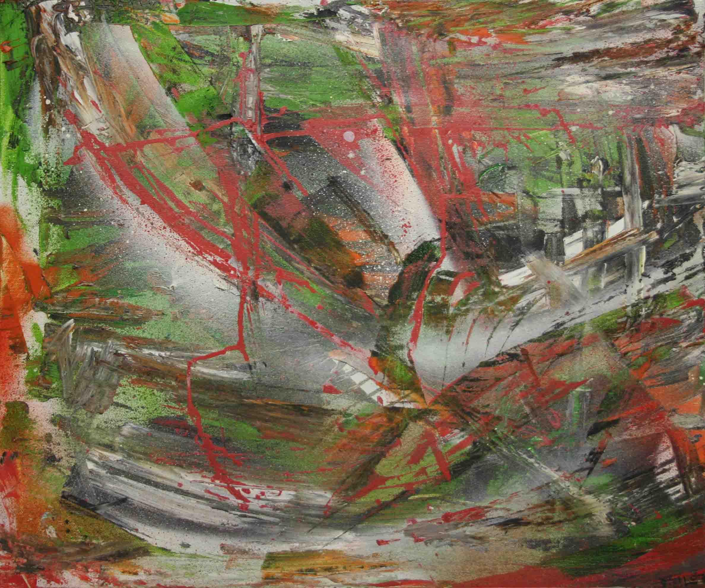 tableau abstrait o vietnam en rouge et vert