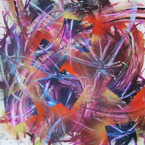 tableau abstrait orgamse en orange et violet